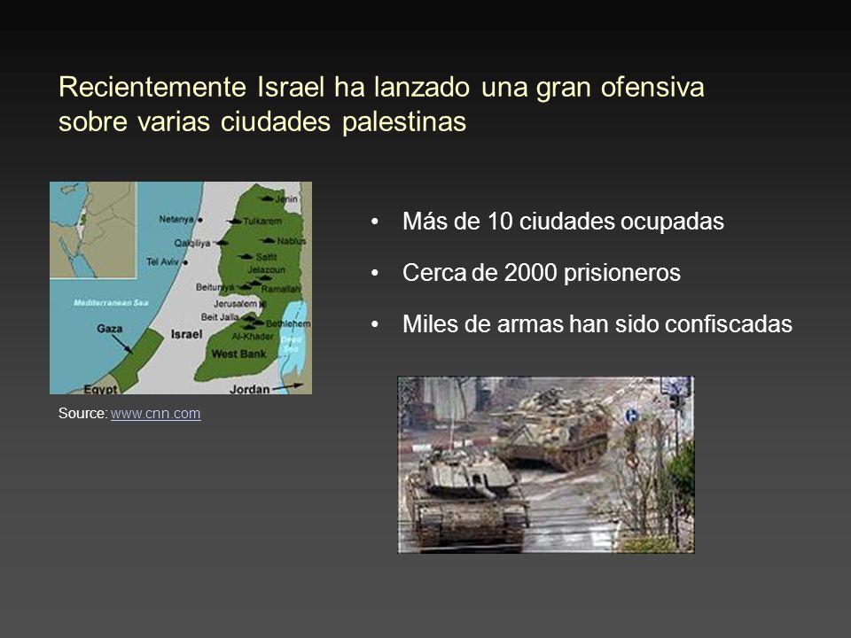 Recientemente Israel ha lanzado una gran ofensiva sobre varias ciudades palestinas Más de 10 ciudades ocupadas Cerca de 2000 prisioneros Miles de armas han sido confiscadas Source: www.cnn.comwww.cnn.com