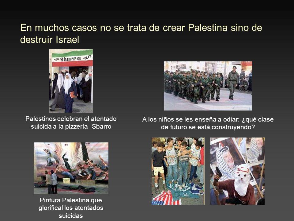 En muchos casos no se trata de crear Palestina sino de destruir Israel Palestinos celebran el atentado suicida a la pizzería Sbarro Pintura Palestina que glorifical los atentados suicidas A los niños se les enseña a odiar: ¿qué clase de futuro se está construyendo