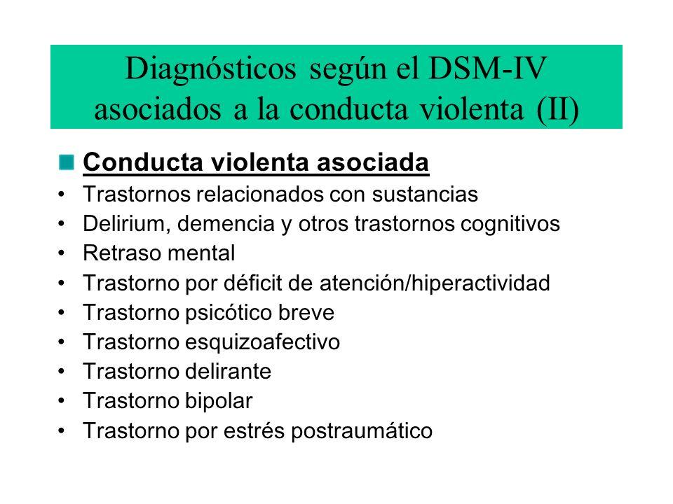 Diagnósticos según el DSM-IV asociados a la conducta violenta (II) Conducta violenta asociada Trastornos relacionados con sustancias Delirium, demencia y otros trastornos cognitivos Retraso mental Trastorno por déficit de atención/hiperactividad Trastorno psicótico breve Trastorno esquizoafectivo Trastorno delirante Trastorno bipolar Trastorno por estrés postraumático