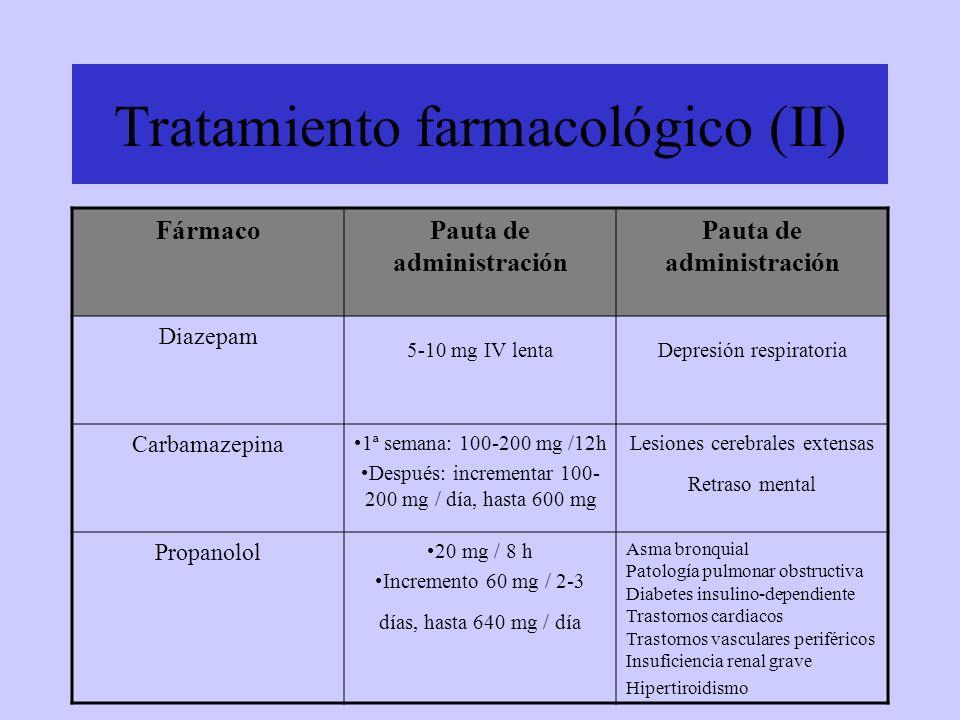 Tratamiento farmacológico (II) FármacoPauta de administración Diazepam 5-10 mg IV lentaDepresión respiratoria Carbamazepina 1ª semana: 100-200 mg /12h