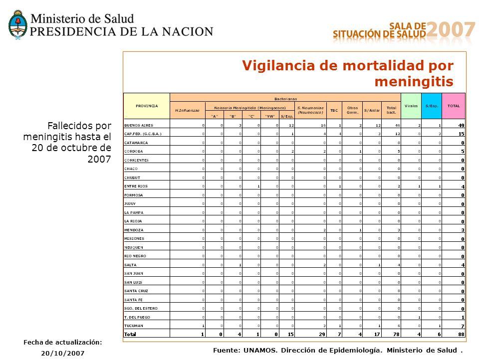 Fecha de actualización: 20/10/2007 Fuente: UNAMOS. Dirección de Epidemiología. Ministerio de Salud. Vigilancia de mortalidad por meningitis Fallecidos