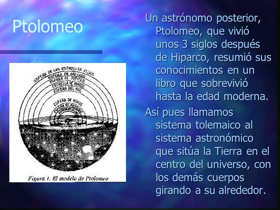 Un astrónomo posterior, Ptolomeo, que vivió unos 3 siglos después de Hiparco, resumió sus conocimientos en un libro que sobrevivió hasta la edad moder