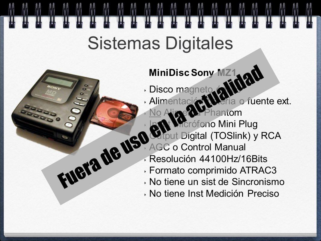 Sistemas Digitales Disco magneto óptico Alimentación bateria o fuente ext. No Alimenta Phantom Input Micrófono Mini Plug Output Digital (TOSlink) y RC