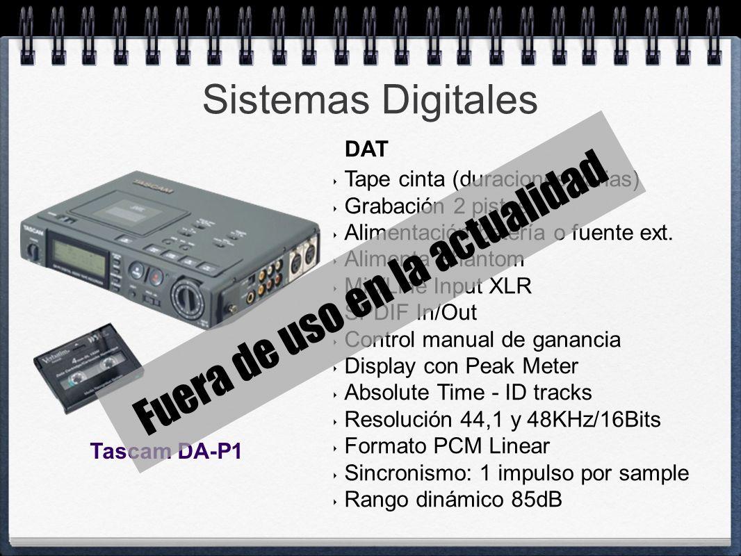 Sistemas Digitales Tape cinta (duraciones varias) Grabación 2 pistas Alimentación batería o fuente ext. Alimenta Phantom Mic/Line Input XLR SPDIF In/O