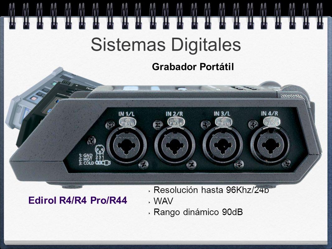 Sistemas Digitales HD Interno CompactFlash Grabación 4 pistas (4 Pre Mic) Alimentación 8 pilas o fuente ext. Alimenta Phantom Mic/Line Input XLR/TRS O