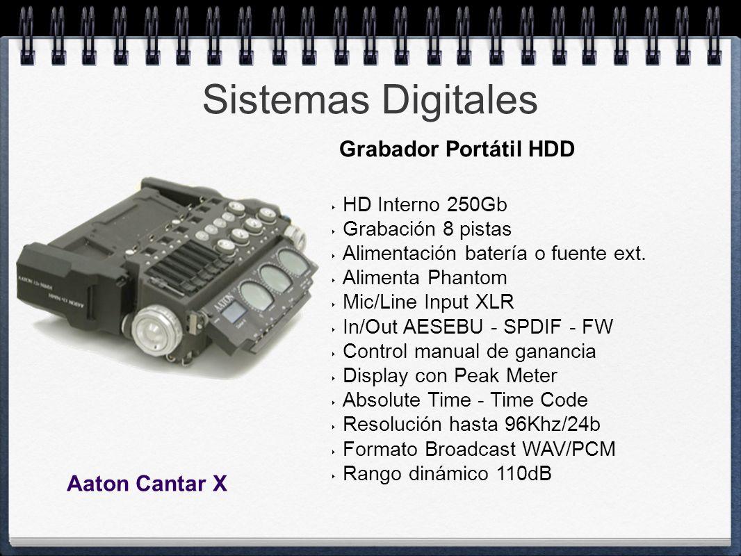 Sistemas Digitales HD Interno 250Gb Grabación 8 pistas Alimentación batería o fuente ext. Alimenta Phantom Mic/Line Input XLR In/Out AESEBU - SPDIF -