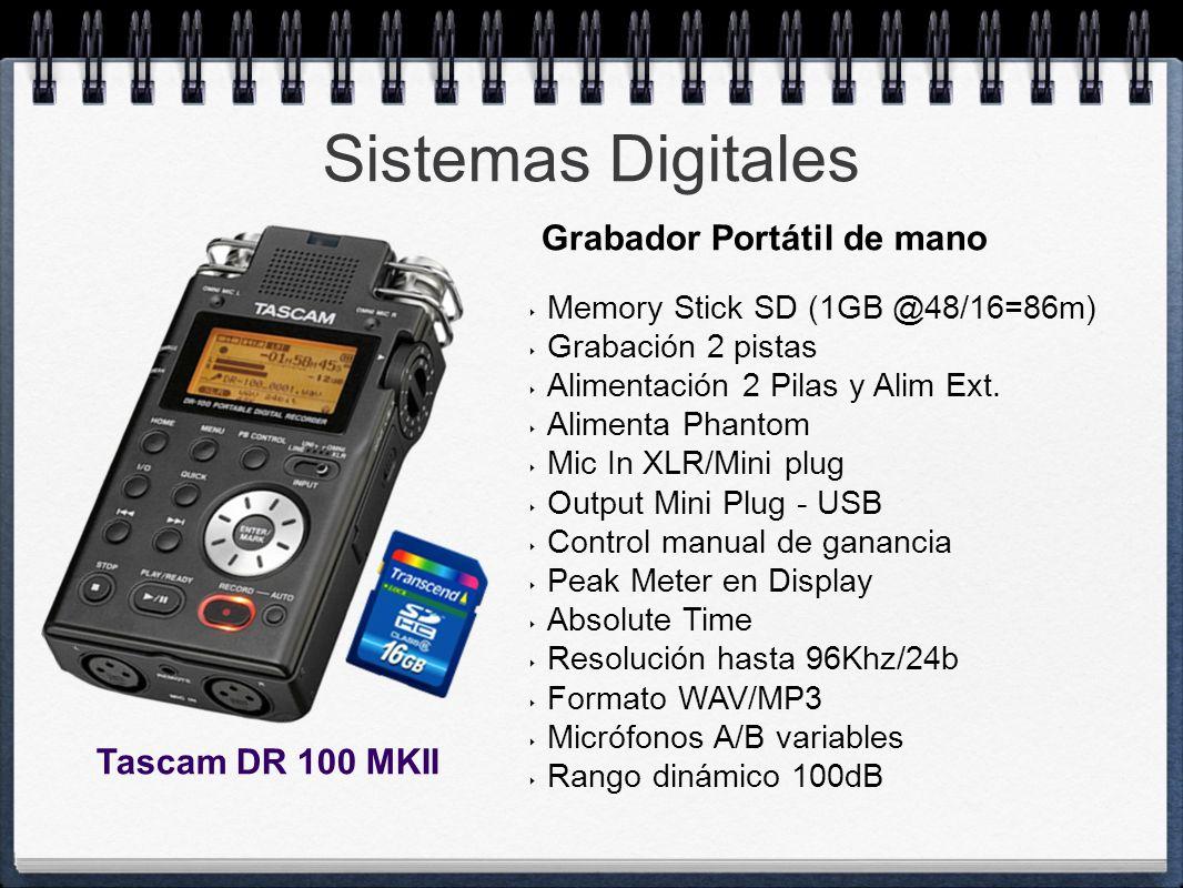 Sistemas Digitales Memory Stick SD (1GB @48/16=86m) Grabación 2 pistas Alimentación 2 Pilas y Alim Ext. Alimenta Phantom Mic In XLR/Mini plug Output M