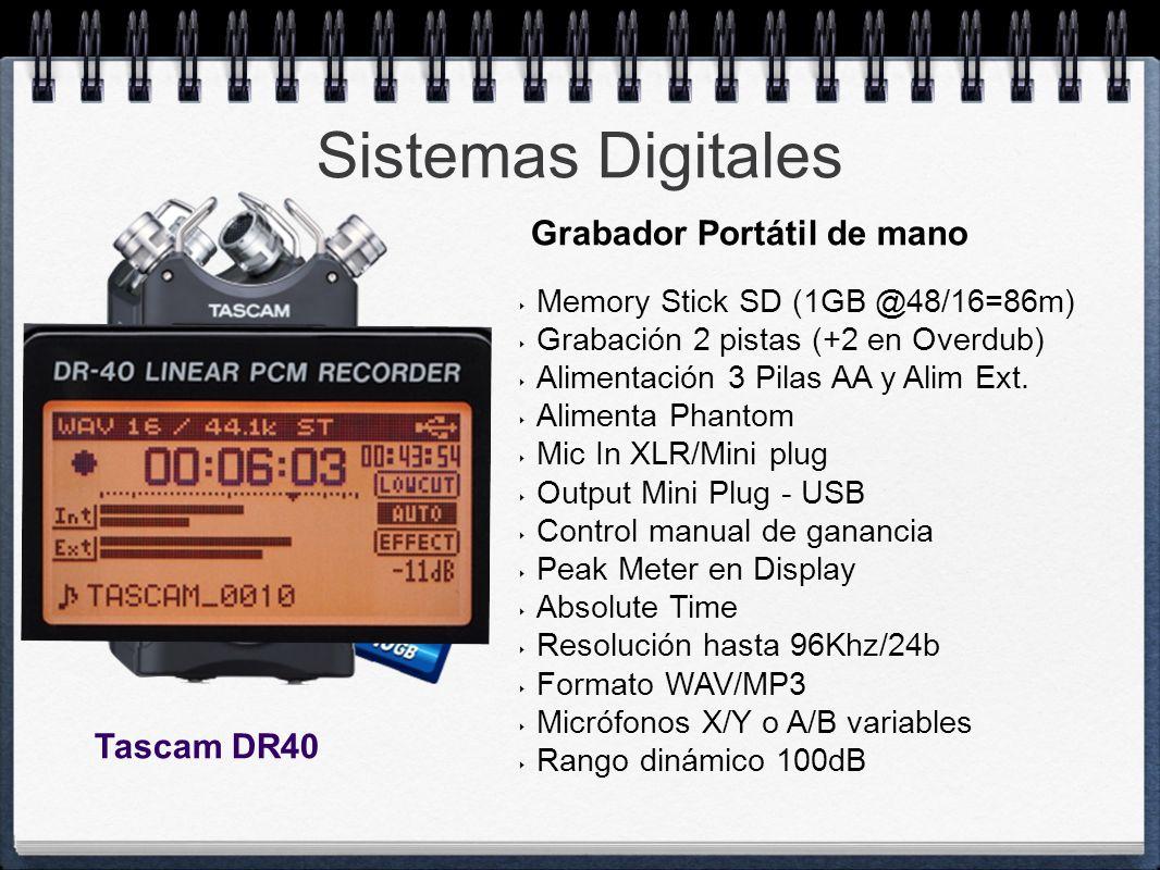 Sistemas Digitales Memory Stick SD (1GB @48/16=86m) Grabación 2 pistas (+2 en Overdub) Alimentación 3 Pilas AA y Alim Ext. Alimenta Phantom Mic In XLR
