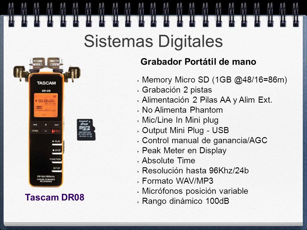 Sistemas Digitales Memory Micro SD (1GB @48/16=86m) Grabación 2 pistas Alimentación 2 Pilas AA y Alim Ext. No Alimenta Phantom Mic/Line In Mini plug O
