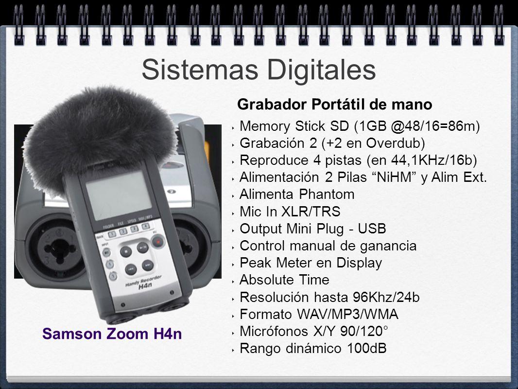 Sistemas Digitales Memory Stick SD (1GB @48/16=86m) Grabación 2 (+2 en Overdub) Reproduce 4 pistas (en 44,1KHz/16b) Alimentación 2 Pilas NiHM y Alim E