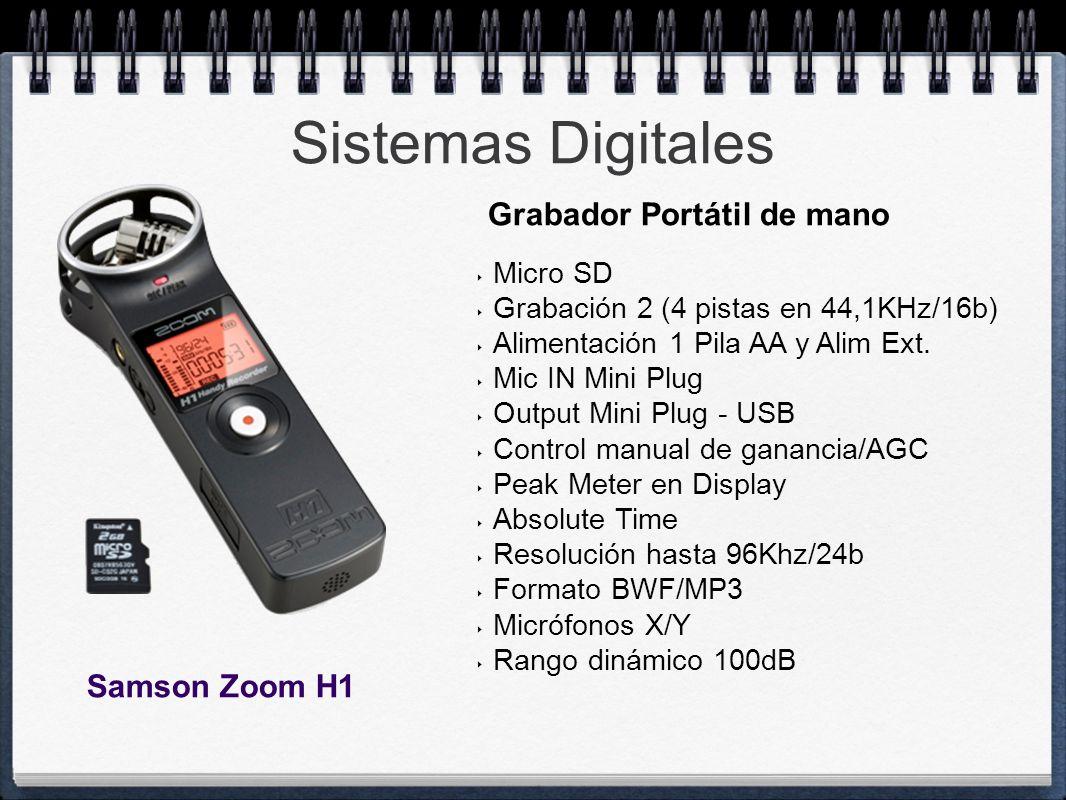 Sistemas Digitales Micro SD Grabación 2 (4 pistas en 44,1KHz/16b) Alimentación 1 Pila AA y Alim Ext. Mic IN Mini Plug Output Mini Plug - USB Control m