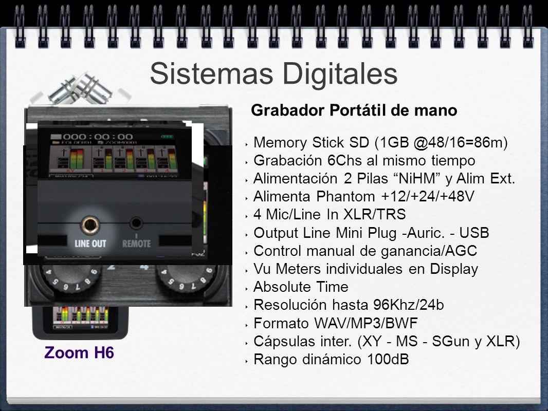 Sistemas Digitales Memory Stick SD (1GB @48/16=86m) Grabación 6Chs al mismo tiempo Alimentación 2 Pilas NiHM y Alim Ext. Alimenta Phantom +12/+24/+48V
