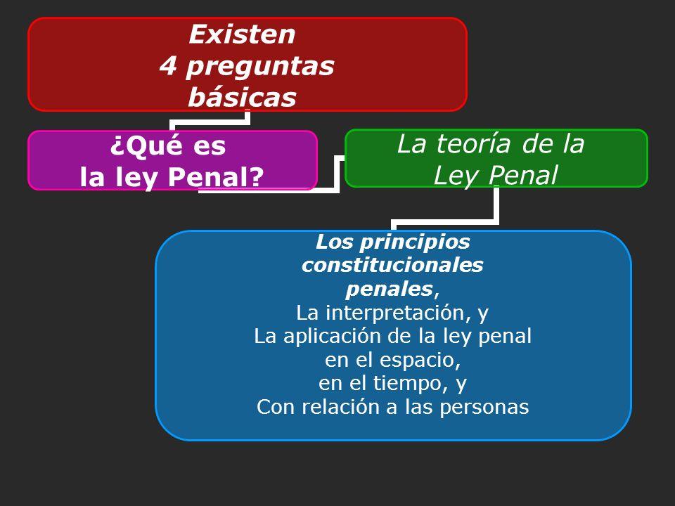 Existen 4 preguntas básicas ¿Qué es la ley Penal? La teoría de la Ley Penal Los principios constitucionales penales, La interpretación, y La aplicació