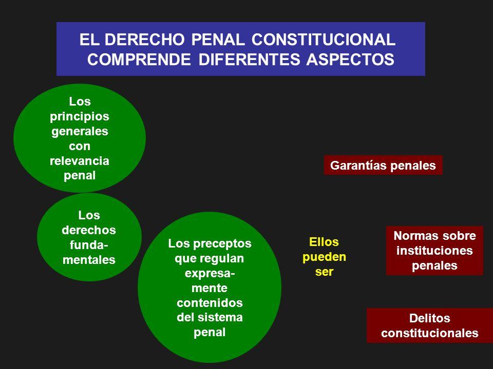 EL DERECHO PENAL CONSTITUCIONAL COMPRENDE DIFERENTES ASPECTOS Los principios generales con relevancia penal Los derechos funda- mentales Los preceptos