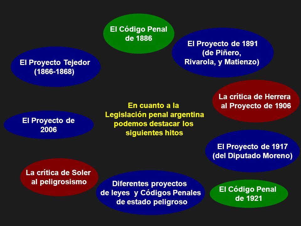 En cuanto a la Legislación penal argentina podemos destacar los siguientes hitos El Proyecto Tejedor (1866-1868) El Código Penal de 1886 El Proyecto d