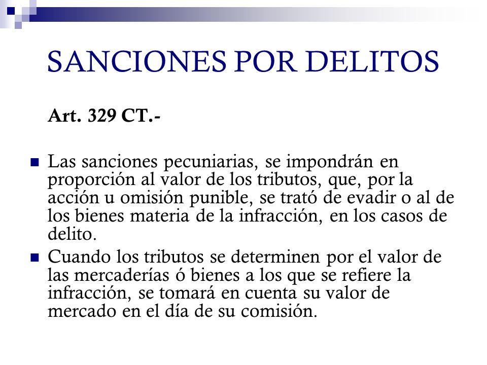 SANCIONES POR DELITOS Art. 329 CT.- Las sanciones pecuniarias, se impondrán en proporción al valor de los tributos, que, por la acción u omisión punib