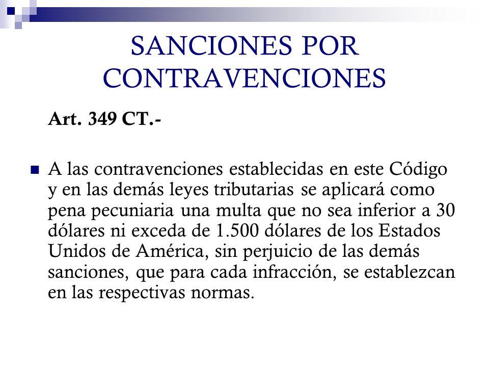 SANCIONES POR CONTRAVENCIONES Art. 349 CT.- A las contravenciones establecidas en este Código y en las demás leyes tributarias se aplicará como pena p