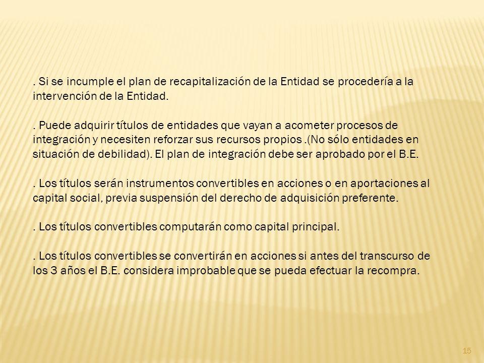 Si se incumple el plan de recapitalización de la Entidad se procedería a la intervención de la Entidad..