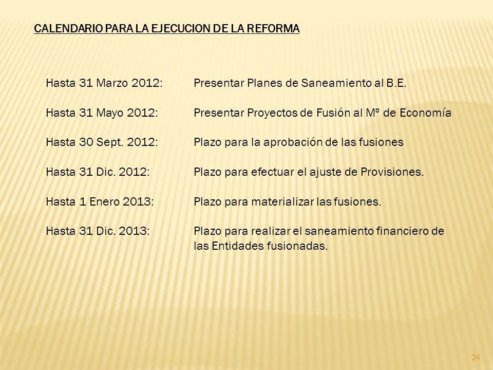 24 CALENDARIO PARA LA EJECUCION DE LA REFORMA Hasta 31 Marzo 2012:Presentar Planes de Saneamiento al B.E.