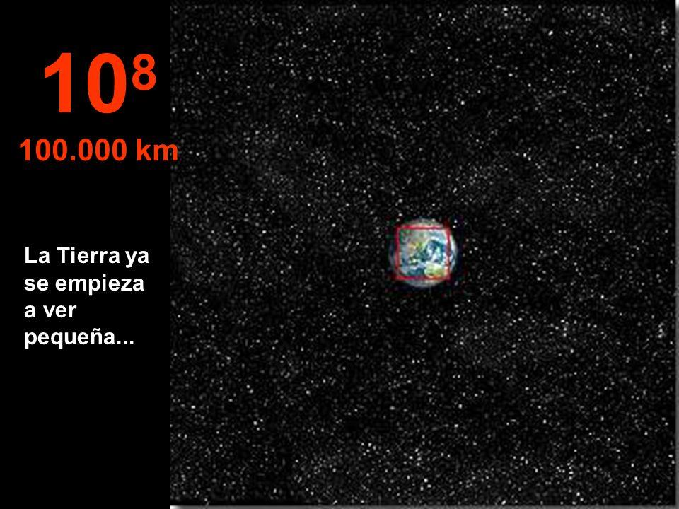 A esta distancia vemos el hemisferio Norte de la Tierra, y en parte el hemisferio Sur 10 7 10.000 km