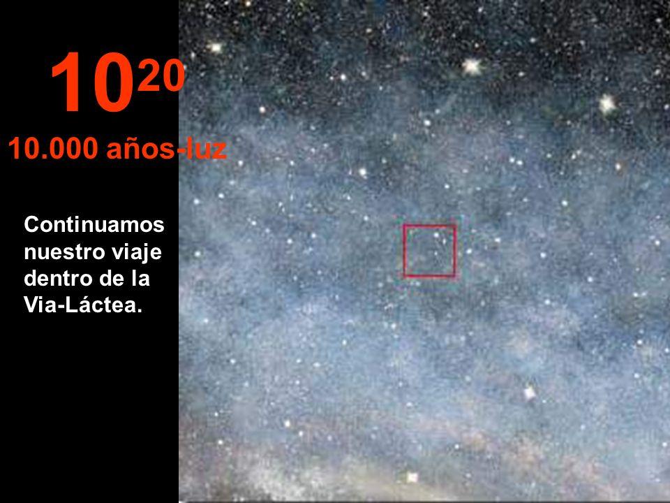 10 19 1.000 años-luz A esta distancia las estrellas se confunden. Estaríamos viajando por la Via-Láctea, nuestra galaxia.