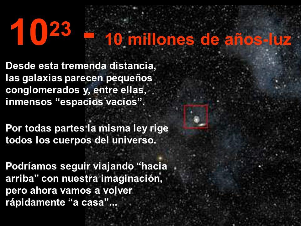 Desde esta inmensa distancia imaginemos ver toda la Via-Láctea y también otras galáxias... 10 22 1 millón de años-luz