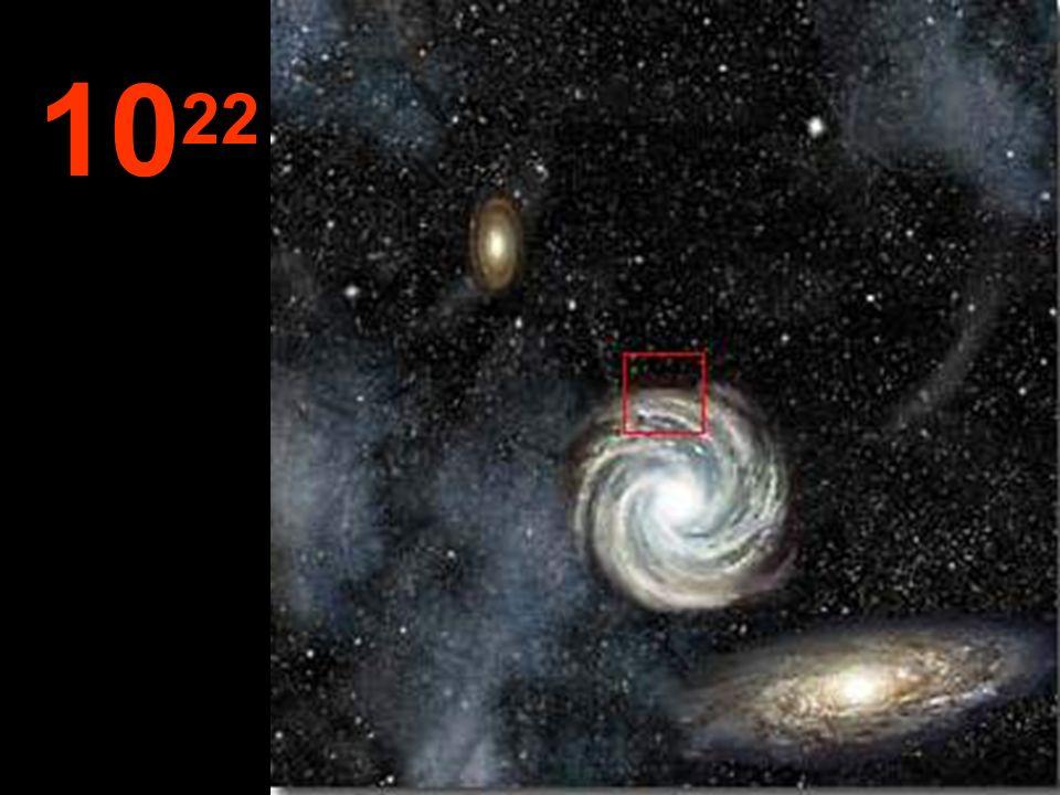 Desde esta tremenda distancia, las galaxias parecen pequeños conglomerados y, entre ellas, inmensos espacios vacíos.