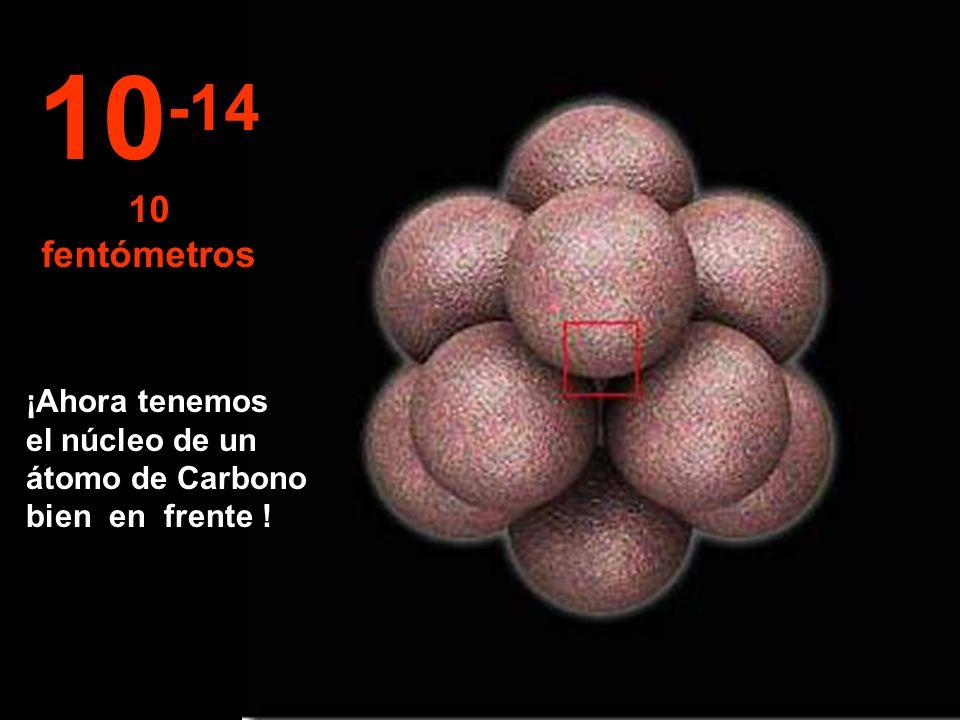 En este increíble y minúsculo tamaño comenzamos a observar el núcleo del átomo, así de pequeño. 10 -13 100 fentómetros
