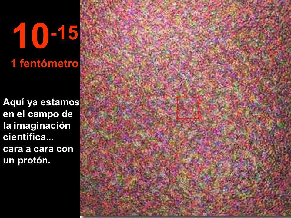 ¡Ahora tenemos el núcleo de un átomo de Carbono bien en frente ! 10 -14 10 fentómetros