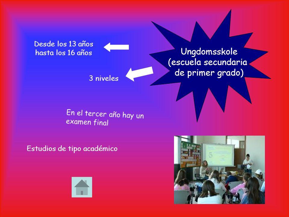 Desde los 13 años hasta los 16 años 3 niveles Ungdomsskole (escuela secundaria de primer grado) Estudios de tipo académico En el tercer año hay un examen final