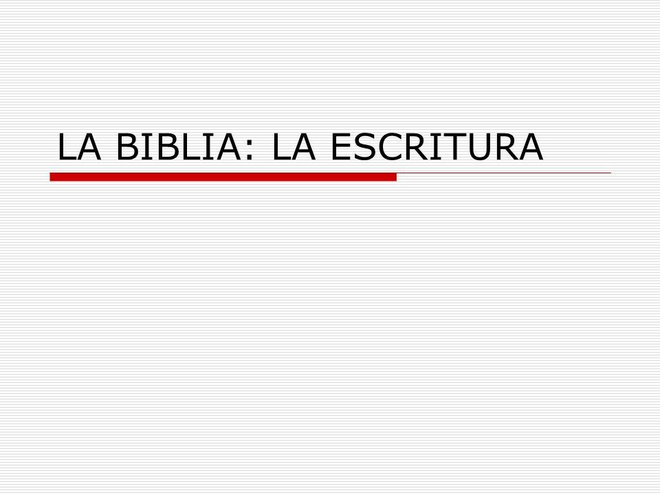 LA BIBLIA: LA ESCRITURA