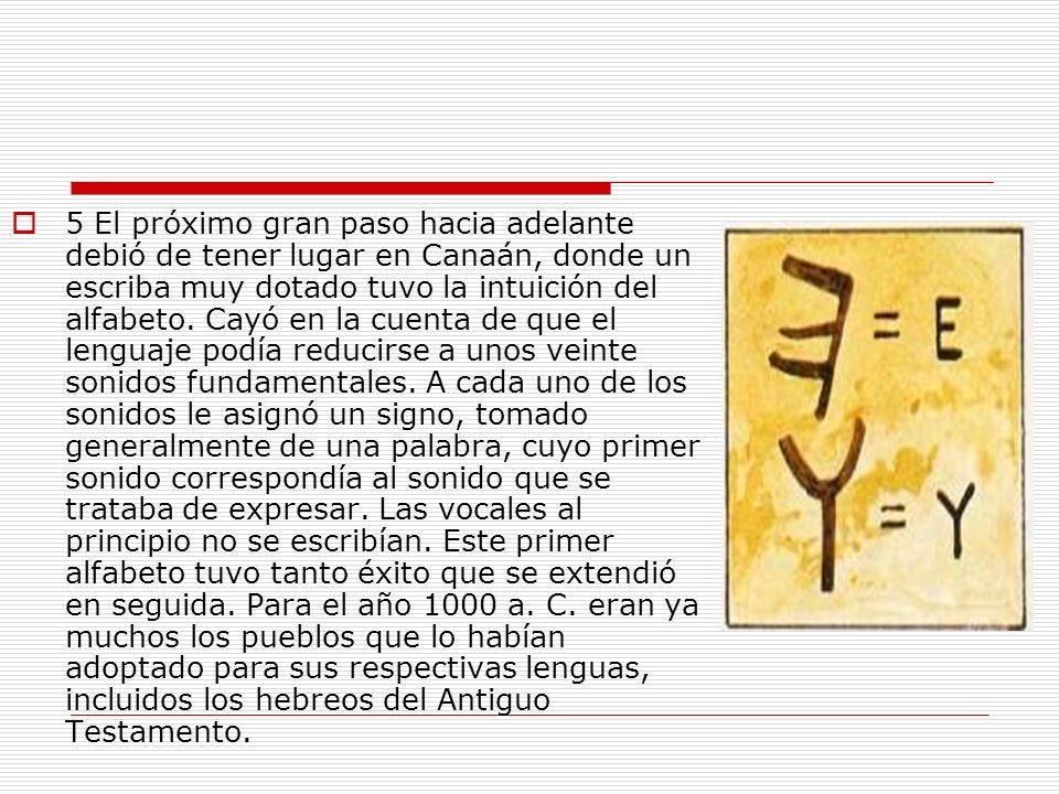 5 El próximo gran paso hacia adelante debió de tener lugar en Canaán, donde un escriba muy dotado tuvo la intuición del alfabeto. Cayó en la cuenta de