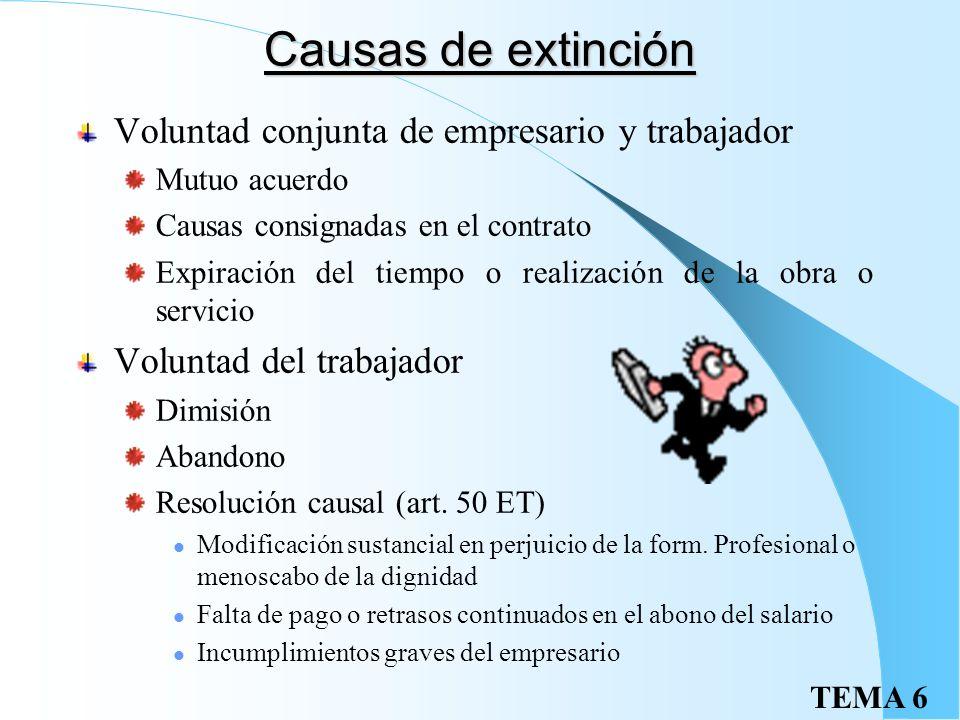 TEMA 6 Extinción del contrato: Finiquito Es la propuesta de liquidación de las cantidades adeudadas que se entrega al trabajador Incluirá: Salario del