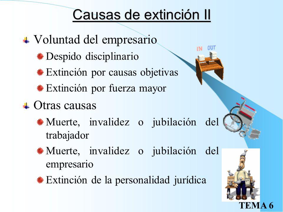 TEMA 6 Causas de extinción Voluntad conjunta de empresario y trabajador Mutuo acuerdo Causas consignadas en el contrato Expiración del tiempo o realiz