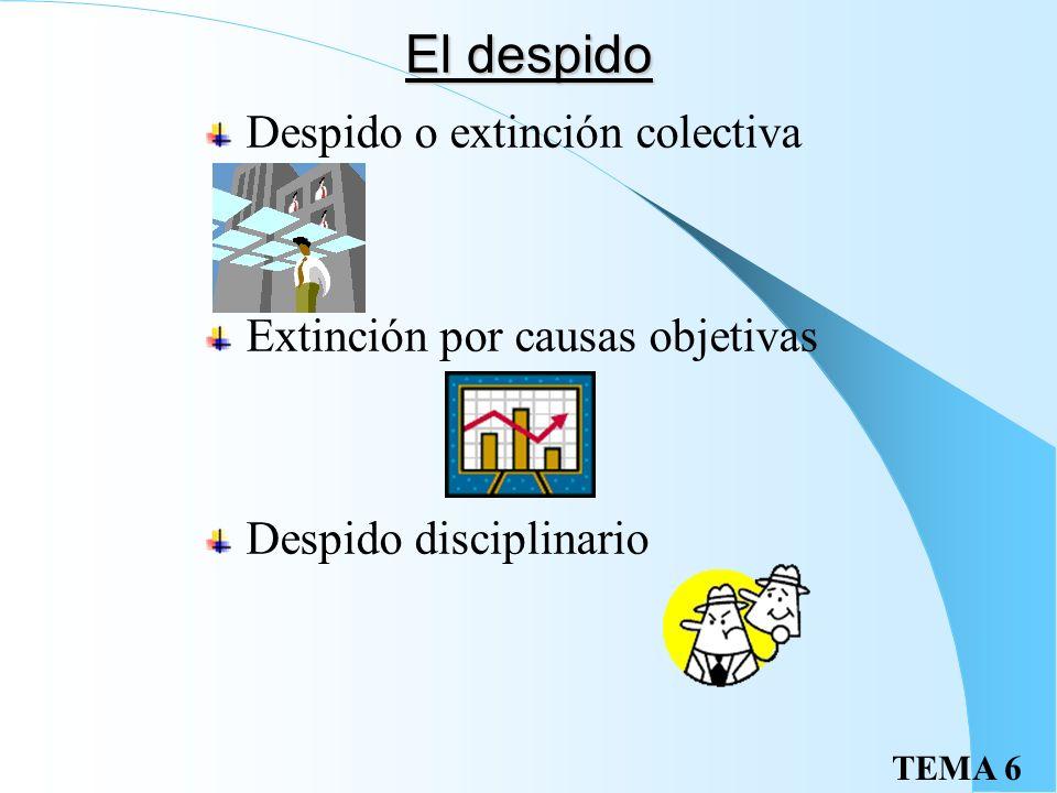TEMA 6 Causas de extinción II Voluntad del empresario Despido disciplinario Extinción por causas objetivas Extinción por fuerza mayor Otras causas Mue
