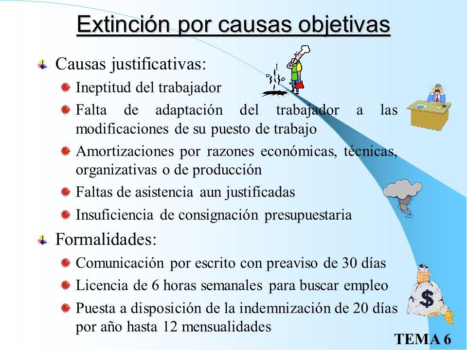 TEMA 6 Extinción colectiva Causas: Cuando concurran causas económicas, técnicas, organizativas o de producción En supuestos de fuerza mayor que imposi