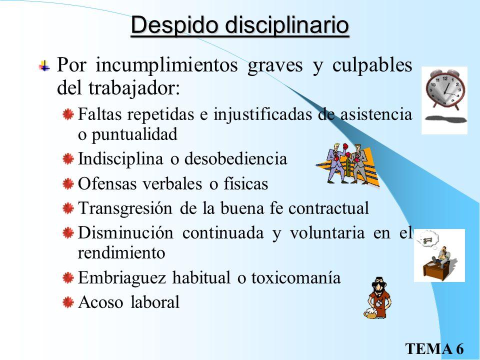 TEMA 6 Extinción objetiva II Sentencia: Despido nulo (READMISIÓN Y SALARIOS DE TRAMITACIÓN) si: Supone discriminación o violación de derechos fundamen