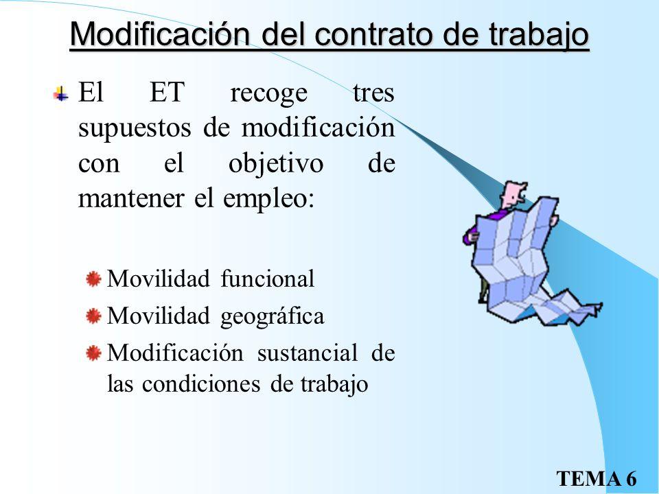Modificación del contrato de trabajo El ET recoge tres supuestos de modificación con el objetivo de mantener el empleo: Movilidad funcional Movilidad geográfica Modificación sustancial de las condiciones de trabajo