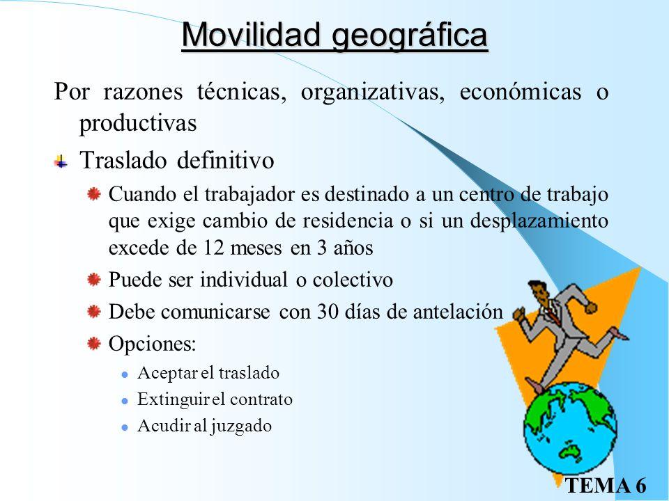 TEMA 6 Movilidad funcional Dentro del grupo profesional o en categorías equivalentes: No exige ni causa ni tiene limite temporal No puede atentar a la