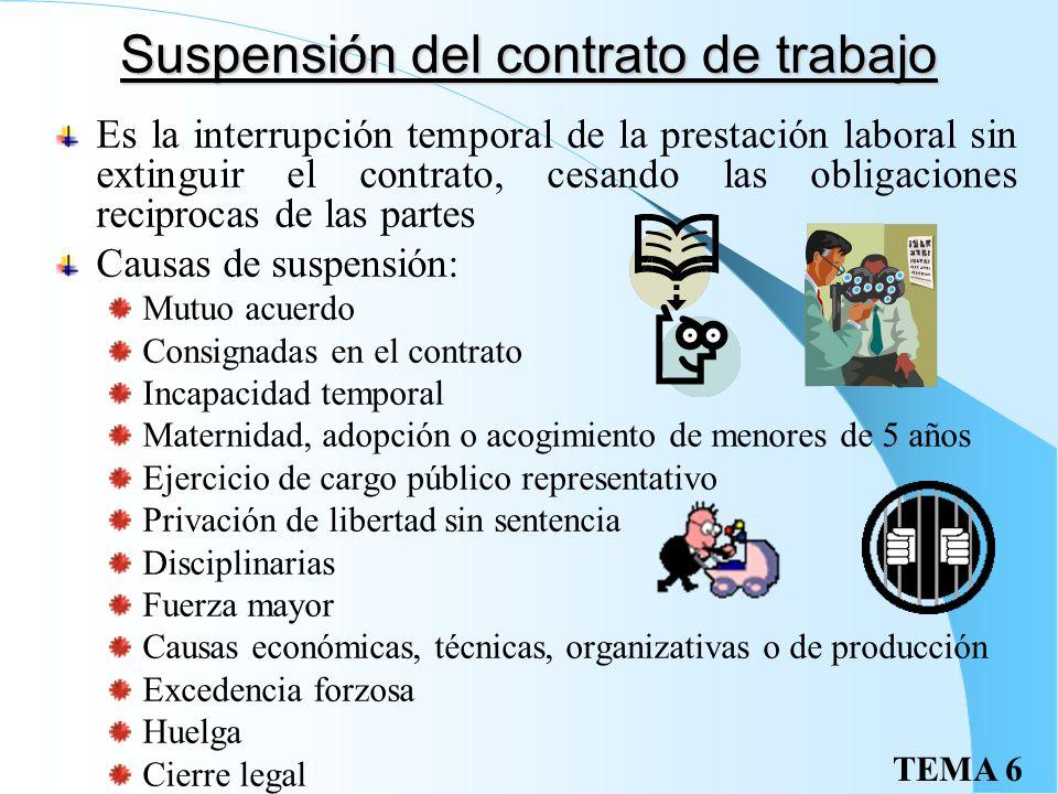 TEMA 6 Modificación sustancial Cuando existan razones económicas, técnicas, organizativas o de producción Son aquellas que afectan a jornada de trabaj