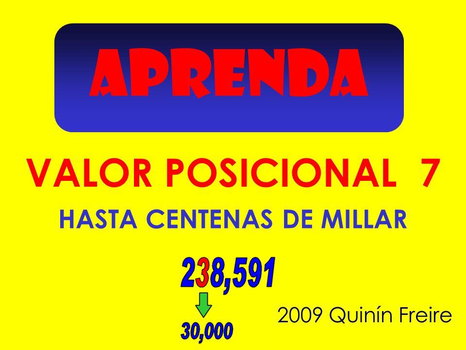 APRENDA 2009 Quinín Freire VALOR POSICIONAL 7 HASTA CENTENAS DE MILLAR