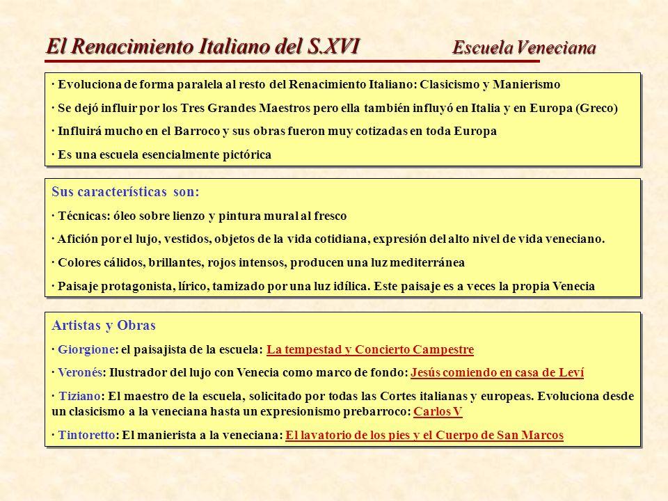 El Renacimiento Italiano del S.XVI Escuela Veneciana · Evoluciona de forma paralela al resto del Renacimiento Italiano: Clasicismo y Manierismo · Se d