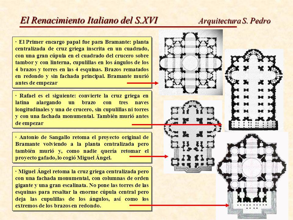 El Renacimiento Italiano del S.XVI Arquitectura S. Pedro · El Primer encargo papal fue para Bramante: planta centralizada de cruz griega inscrita en u
