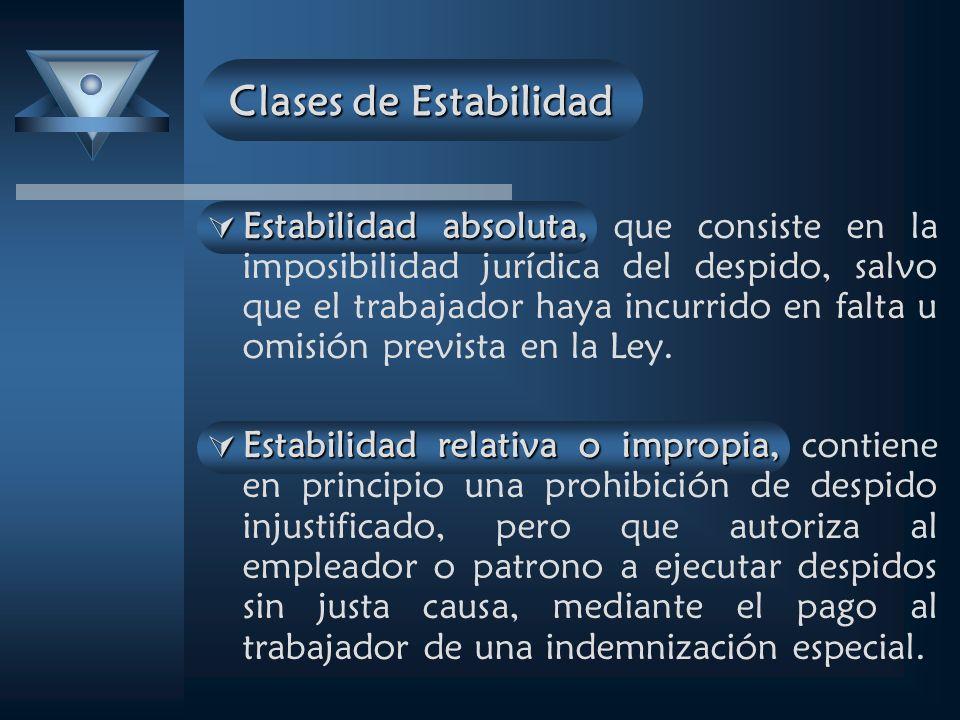 Estabilidad absoluta, Estabilidad absoluta, que consiste en la imposibilidad jurídica del despido, salvo que el trabajador haya incurrido en falta u omisión prevista en la Ley.