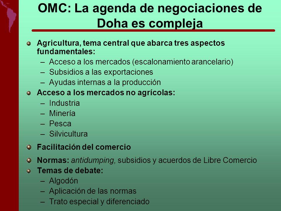 OMC: La agenda de negociaciones de Doha es compleja Agricultura, tema central que abarca tres aspectos fundamentales: –Acceso a los mercados (escalona