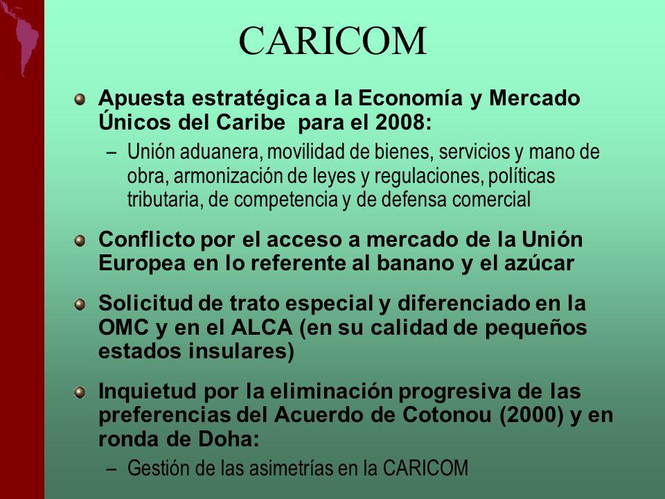 CARICOM Apuesta estratégica a la Economía y Mercado Únicos del Caribe para el 2008: –Unión aduanera, movilidad de bienes, servicios y mano de obra, ar