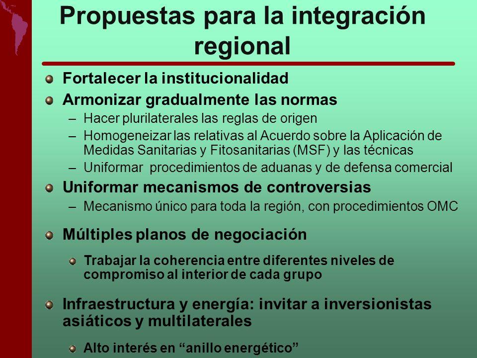 Propuestas para la integración regional Fortalecer la institucionalidad Armonizar gradualmente las normas –Hacer plurilaterales las reglas de origen –