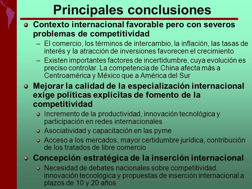 Principales conclusiones Contexto internacional favorable pero con severos problemas de competitividad –El comercio, los términos de intercambio, la i