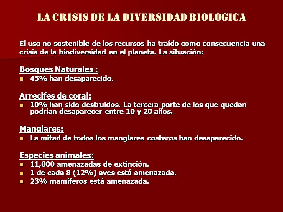 LA CRISIS DE LA DIVERSIDAD BIOLOGICA El uso no sostenible de los recursos ha traído como consecuencia una crisis de la biodiversidad en el planeta. La