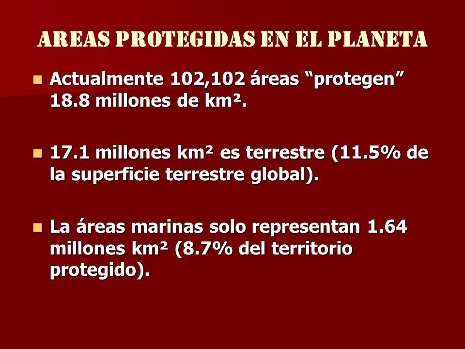 Areas protegidas EN EL PLANETA Actualmente 102,102 áreas protegen 18.8 millones de km². Actualmente 102,102 áreas protegen 18.8 millones de km². 17.1